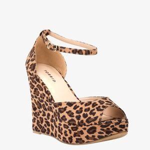 Torrid Size 10 Leopard Wedge Platform Sandals